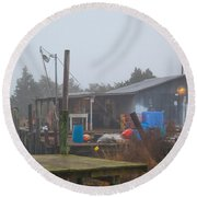 Fish House In Fog Round Beach Towel