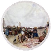 Fish Sale On The Beach  Round Beach Towel by Bernardus Johannes Blommers