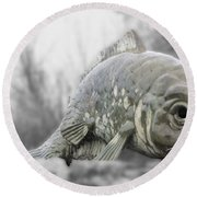 Fish Sculpture Round Beach Towel