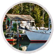 Fish Shack And Invictus Painted Round Beach Towel