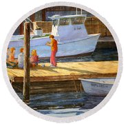 Fish Tales At Cortez Round Beach Towel