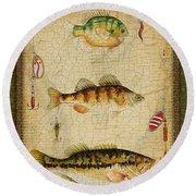 Fish Trio-c-green Round Beach Towel