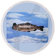 Fish With Bowler Round Beach Towel