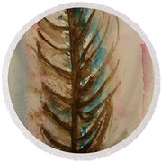 Fishbone Or Feather Round Beach Towel