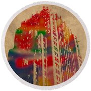 Fisher Building Iconic Buildings Of Detroit Watercolor On Worn Canvas Series Number 4 Round Beach Towel by Design Turnpike