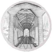Fisher Railroad Covered Bridge Round Beach Towel