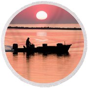 Fisherman At Sunrise Apalachicola Bay Florida  Round Beach Towel by Bill Swindaman