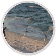 Fisherman At The Beach Round Beach Towel