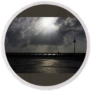 Fisherman At The Pier Round Beach Towel