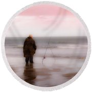 Fisherman By The Sea Round Beach Towel
