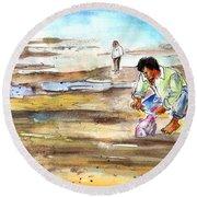 Fisherman On Las Canteras Beach Round Beach Towel