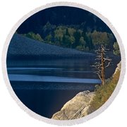 Fisherman On Lundy Lake Eastern Sierras California Round Beach Towel