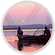 Fisherman On The Ganges River At Varanasi Round Beach Towel