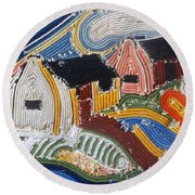 Fishermans Cottages String Collage Round Beach Towel
