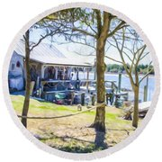 Fisherman's House 4 Round Beach Towel