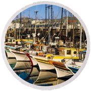 Fishermans Wharf San Francisco Round Beach Towel