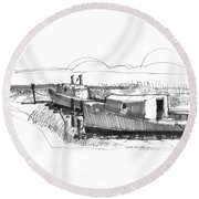 Fishers At Rest Ocracoke Nc 1970s Round Beach Towel