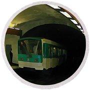 Fisheye View Of Paris Subway Train Round Beach Towel