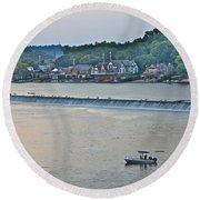 Fishing At Boathouse Row Round Beach Towel