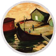 Fishing Barges On The River Sugovica Round Beach Towel