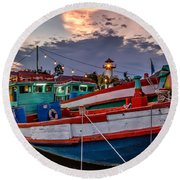 Fishing Boat Round Beach Towel by Adrian Evans