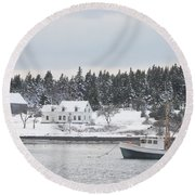 Fishing Boat After Snowstorm In Port Clyde Harbor Maine Round Beach Towel