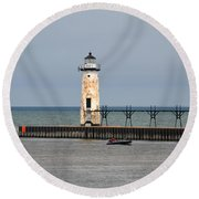 Fishing Boat And Lighthouse Round Beach Towel