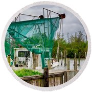 Fishing Boat And Pelicans On Posts Round Beach Towel