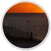 Fishing Boat And The Sunrise Round Beach Towel
