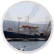 Fishing Boat Apostolos - Samos Round Beach Towel