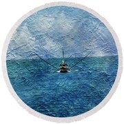 Fishing Boat As A Painting 2 Round Beach Towel