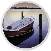 Fishing Boat At Dawn Round Beach Towel