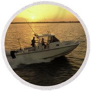 Fishing Boat Coming In At Sunset Round Beach Towel