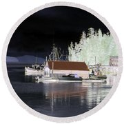 Fishing Boat Dock - Ketchican - Alaska - Photopower 01 Round Beach Towel