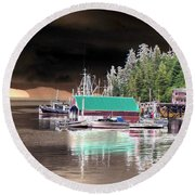 Fishing Boat Dock - Ketchican - Alaska - Photopower 02 Round Beach Towel