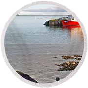 Fishing Boat Intwillingate Harbour-nl Round Beach Towel