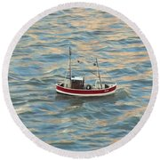 Fishing Boat Jean Round Beach Towel