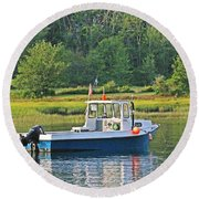 Fishing Boat Cape Neddick Maine Round Beach Towel