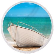 Fishing Boat On The Beach Algarve Portugal Round Beach Towel