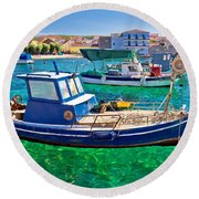 Fishing Boat On Turquoise Sea Round Beach Towel