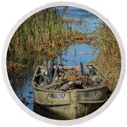 Opening Day Hunting Boat Round Beach Towel
