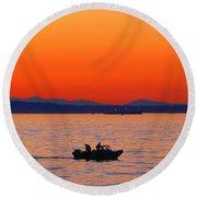 Fishermen At Sunset Puget Sound Washington Round Beach Towel