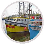 Fishing Boat Reflection In Branch-newfoundland-canada Round Beach Towel