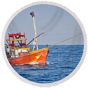 Fishing Boat  Sri Lanka Round Beach Towel