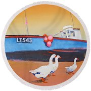 Fishing Boat Walberswick With Geese Round Beach Towel
