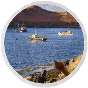 Fishing Boats At Anchor In A Quiet Bay On The Isle Of Skye In Sc Round Beach Towel