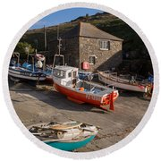 Fishing Boats At Mullion Cove Round Beach Towel