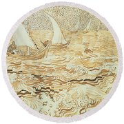 Fishing Boats At Saintes Maries De La Mer Round Beach Towel by Vincent van Gogh
