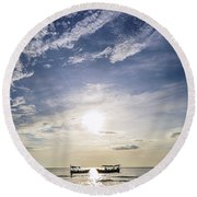 fishing boats at sunset in koh rong Cambodia Round Beach Towel