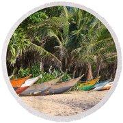 Fishing Boats B Mirissa Beach Round Beach Towel